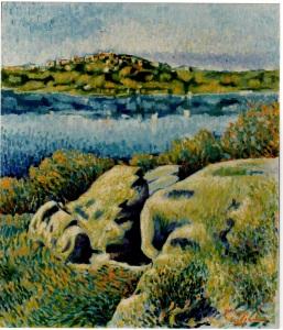 Rocce sul Lago di Albano- 1994 - olio su tela 70x60
